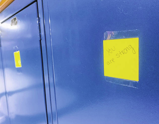 "A note on a student's locker states, ""You are strong!"", one of the many notes Blanchester FFA members made for February."