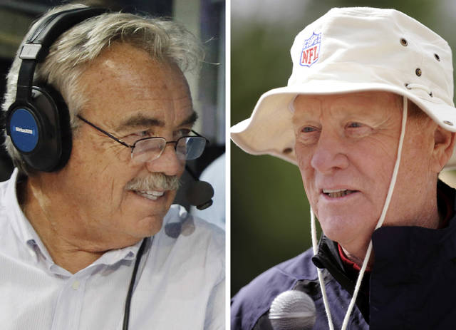 FILE - At left, in an April 26, 2018, file photo, SiriusXM host Pat Kirwan is shown in Arlington, Texas. At right, in a June 3, 2013, file photo, Bill Polian speaks with reporters during a press conference in Batavia, N.Y. Bill Polian ran many an NFL draft, making him the main man in the room for several successful franchises. Next week, the Pro Football Hall of Famer knows who the guys in demand will be for all 32 teams: the techs. That said, Polian and former NFL executive Pat Kirwan point directly to team scouts who, like every other year, were on the road gathering data since last summer. Former team executive Pat Kirwan points out the logistical limitations caused by the coronavirus pandemic could outweigh some of the scouting diligence _ particularly in attempting to make trades. (AP Photo/File)