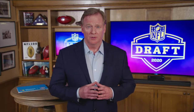 In this still image from video provided by the NFL, NFL Commissioner Roger Goodell speaks from his home in Bronxville, N.Y., during the NFL football draft Thursday, April 23, 2020. (NFL via AP)