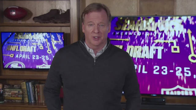 In this still image from video provided by the NFL, Commissioner Roger Goodell speaks during the NFL football draft, Friday, April 24, 2020. (NFL via AP)