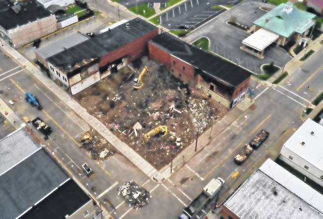 This aerial shot from a drone shows the vastness of the fire that gutted the historic downtown Blanchester building, which was recently demolished.