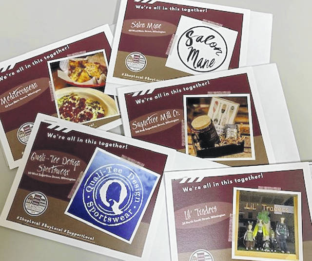Community postcards are available from Main Street Wilmington free of charge, on a donation-only basis, and don't forget that you can help small businesses by purchasing gift cards now.