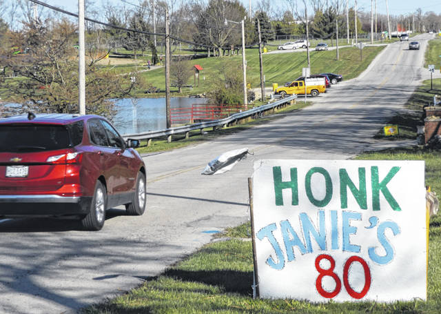 Organized birthday caravans have become a popular way to observe someone's birthday — perhaps especially kids disappointed about not having a birthday party — during these stay-at-home times of the coronavirus. In a bit of a twist on the caravan idea, this sign on Monday encourages any and all motorists to honk and wish Janie a Happy Birthday on well-traveled Fife Avenue in Wilmington.