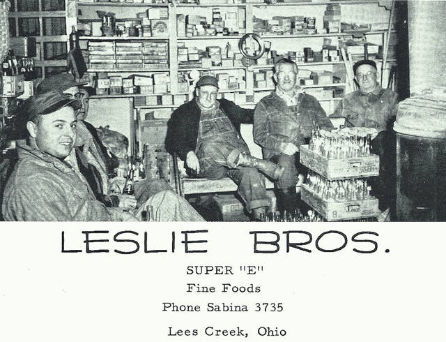 "The ""Famous Back Benches"" at Leslie Bros Grocery, from the 1958 Simon Kenton yearbook. From left are Roger McFadden, Dalton McFadden, (unknown), Wilbur Cast, Bill Adams and Ott Grimsley."
