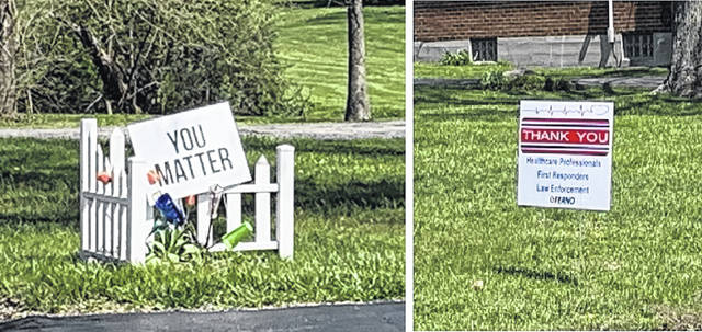 Clinton County residents are doing what they can to show their appreciation for others while staying at home, including these two homeowners' signs in Wilmington.