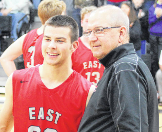 Tony Berlin, right, with East Clinton's all-time leading scorer Wyatt Floyd.