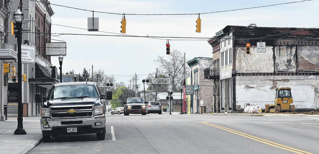 The cleanup of the historic downtown building that burned is complete enough for traffic to get through downtown Blanchester without detouring around it.