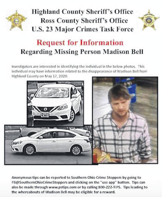 These images of a suspect and car possibly related to the disappearance of 18-year-old Greenfield resident Madison Bell were released Thursday by the Highland County Sheriff's Office.