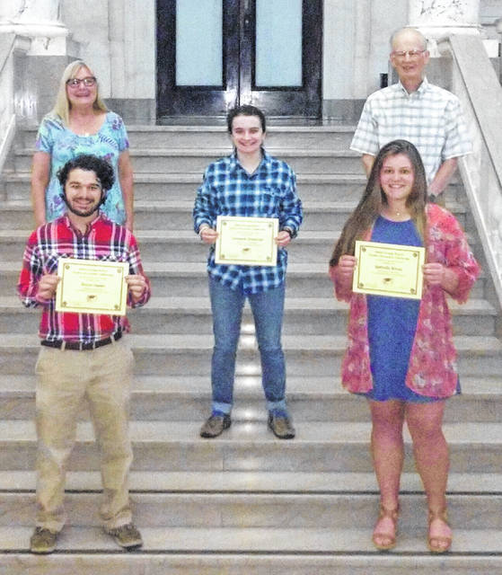 From left are: Front, Mason Snyder and Gabrielle Woods; middle, Savannah Henderson; and, back, Joyce Kelly, CCRTA Scholarship Chairman, and Richard Peck, CCRTA President.