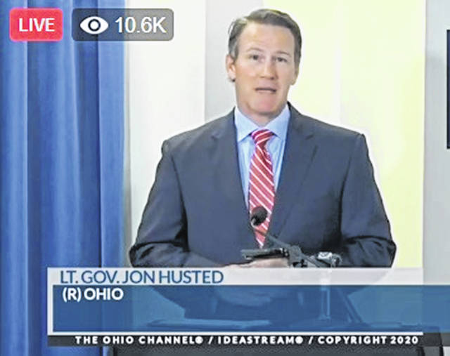 Ohio Lt. Gov. Jon Husted speaks at Thursday's update.