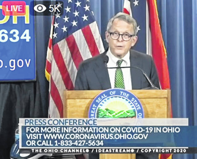 Ohio Gov. Mike DeWine wore a Wilmington College tie and gave WC a shout-out at his Thursday afternoon update.