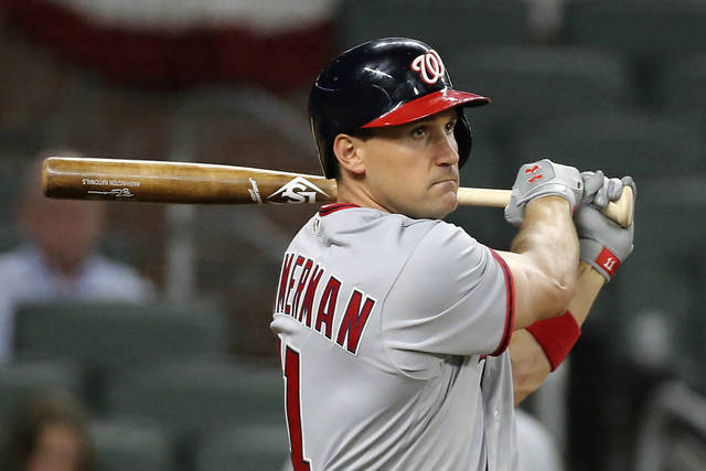 FILE - In this April 19, 2017, file photo, Washington Nationals' Ryan Zimmerman watches his grand slam off Atlanta Braves pitcher Ian Krol during the eighth inning of a baseball game in Atlanta. Zimmerman has been offering his thoughts, as told to AP in a diary of sorts, while waiting for baseball to return. (Curtis Compton/Atlanta Journal-Constitution via AP, File)