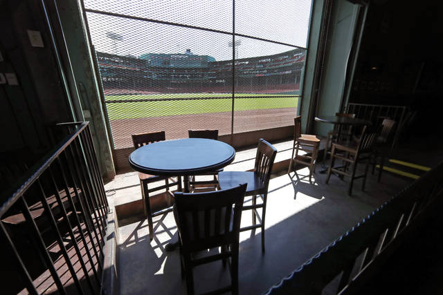 This June 25, 2020, photo shows the view of the baseball field at Fenway Park from the Bleacher Bar in Boston. Located inside the outfield structure at Fenway, it might be one of the few places where fans can watch live MLB baseball this year. Like the Knothole Gangs of the sport's early days, fans hoping to catch a glimpse of a ballgame in person this season will be pressing their faces up against hotel windows, peering through metal grates or clambering up to rooftops when baseball returns this month in otherwise empty stadiums. (AP Photo/Elise Amendola)
