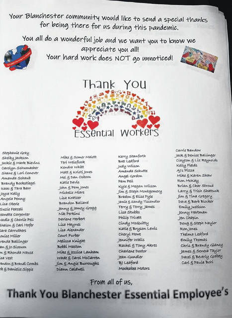 A thank you note listing each of the Blanchester Kroger employees.