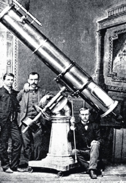 In 1882, students Reynold Jenney and Milton Farquhar raised funds to purchase or have fabricated the parts for a 12-inch reflecting telescope with the assistance and encouragement of their mathematics professor, Levi T. Edwards. All three are believed to pictured sometime between 1882 and 1984, the period during which the telescope was housed in Teacher Ellen Wright's Latin classroom.
