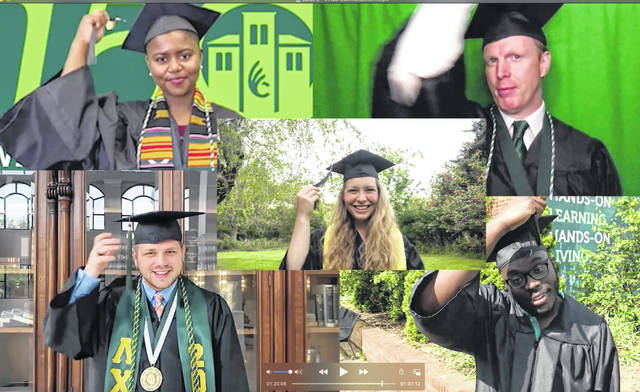 With Emma Marks, who provided the welcome, in the center, graduates moving their tassels from right to left — signifying their graduation — are speakers, clockwise from the top left: Vanessa Cheyann McKee, who represented main campus students; Warren Owens, Cincinnati Branch representative; Brandon Ford, who provided the welcome; and Kameron Rinehart, who introduced the keynote speaker.