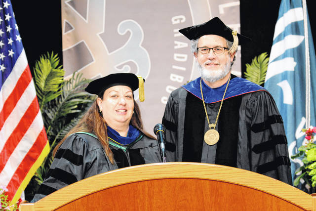President Jim Reynolds and soon-to-be Interim President Erika Goodwin are pictured during the filming of their speaking roles in Wilmington College's Commencement, which will be presented online Saturday morning.