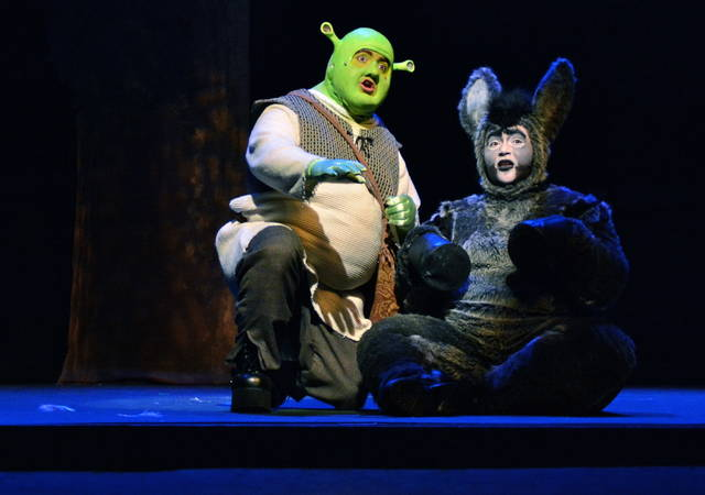 "Bryan Wallingford and Bekah Muchmore are pictured in the 2015 College-Community Theatre production of ""Shrek, the Musical."""