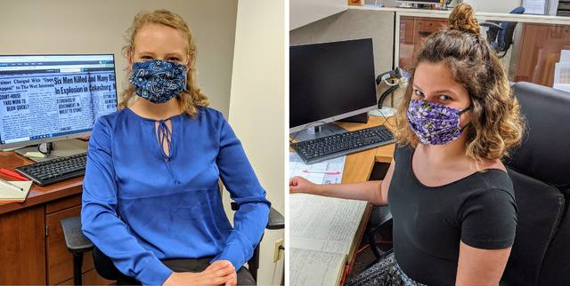 Clinton County Board of Elections summer interns Emily Quallen, left, and Jenna Norman.