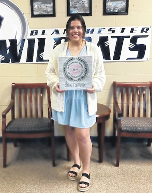 Eliana Tacoronte, a 2020 graduate of Blanchester High School, was honored earlier this year with an Outstanding Women of Clinton County scholarship. She was very active in extracurricular activities and an outstanding student in her four years at BHS, and she is remains active in community and charitable organizations. Eliana was out of town and unable to attend the banquet in early March; she was recently recognized by Blanchester schools. She plans to attend the University of Cincinnati to major in advanced medical imaging technology and eventually go to medical school.