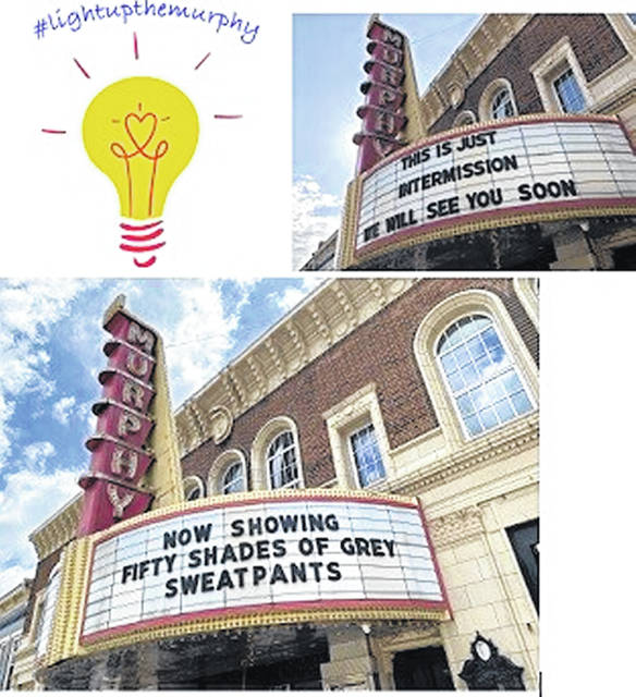 Two examples of pandemic-era messages on the iconic Murphy Theatre marquee meant to make passersby smile.