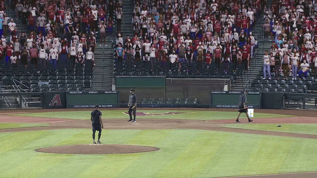 This image provided by Fox Sports shows a screen shot from video showing a test of the virtual crowds at Chase Field in Phoenix, in early July 2020. Fox Sports has revealed that it will include computer-generated fans beginning with their three Major League Baseball games on Saturday, July 25. (Fox Sports via AP)