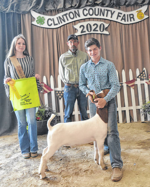 Market Goat fourth overall winner was Jaden Snyder, shown with Goat Queen Makayla Thomason and Judge Jeff Jester.