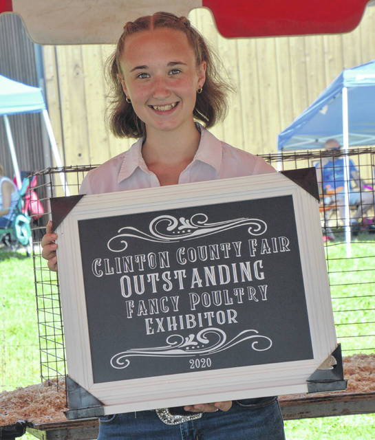 Outstanding Fancy Poultry Exhibitor at the 2020 fair was Logan Shumaker.