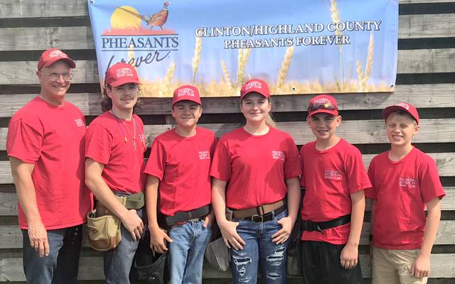 Members and coaches of the EC Skeet Club along with their skeet and trap season averages per 25 targets, from left to right, are coach Bruce Warren, Wyatt Riddle, skeet 20.4; Kale Boeckmann, skeet 16.7, trap 14.3; Madi Frazer, skeet 9.6, trap 15.8; Preston Dixon, skeet 11.5, trap 15.7; Nick Gates, skeet 85.