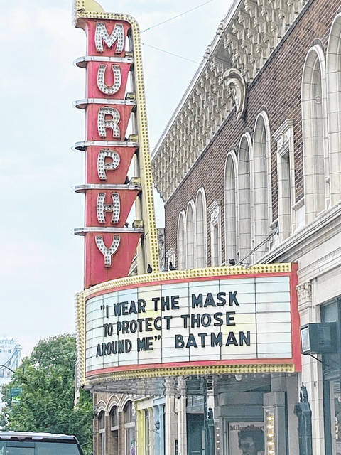 This week's Marquee Monday message at the Murphy Theatre is brought to you by Molly Boatman (and Batman) during the theatre's #lightupthemurphy contest as well as the July fundraiser.