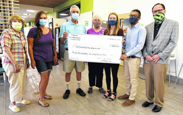The Clinton Streamkeepers presented a check for $425 to the College's Eco Club earlier this week. Pictured are: Carolyn Matthews, member of the Streamkeepers; Karen Kayser, treasurer; Don Spurling, president; Beth Mitchell, secretary; WC seniors Elena Suggs and Julio Oliverez; and Dr. Blake Faulkner, interim vice president for academic affairs at the College.