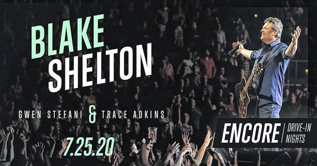 Blake Shelton will perform on the big screen with Gwen Stefani and Trace Adkins at Caesar Creek Flea Market.