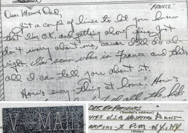"""This composite shows elements of a typical """"V Mail"""" letter home to Ohio from an American soldier in Normandy, France in 1944."""