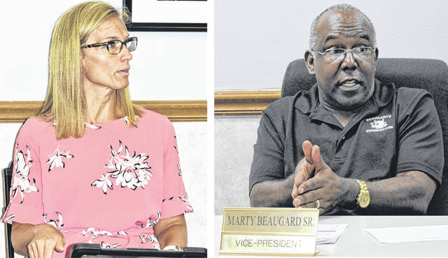 From left, WCS Director of Pupil Services Natalie Harmeling and Board of Education Vice President Marty Beaugard Sr. contribute to Thursday's work session about reopening school.