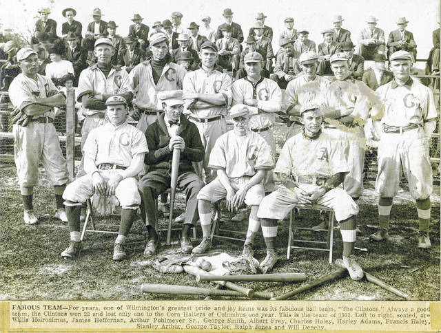 "For years, a pride and joy for the area was its fabulous baseball team. ""The Clintons."" Always a good team, one season the Clintons won 22 games and lost only one — to the Corn Hatters of Columbus one year. This is the team of 1912. From left are: seated, Willis Heironimus, James Heffernan, Arthur Pohlmeyer, Sr., and George Smith; and, standing, Albert Fray, Charles Haley, Harley Adams, Francis Haley, Stanley Arthur, George Taylor, Ralph Jones, and Will Denehy. Can you tell us more? Share it at info@wnewsj.com. The photo is courtesy of the Clinton County Historical Society. Like this image? Reproduction copies of this photo are available by calling the History Center. For more info, visit www.clintoncountyhistory.org; follow them on Facebook @ClintonCountyHistory; or call 937-382-4684."
