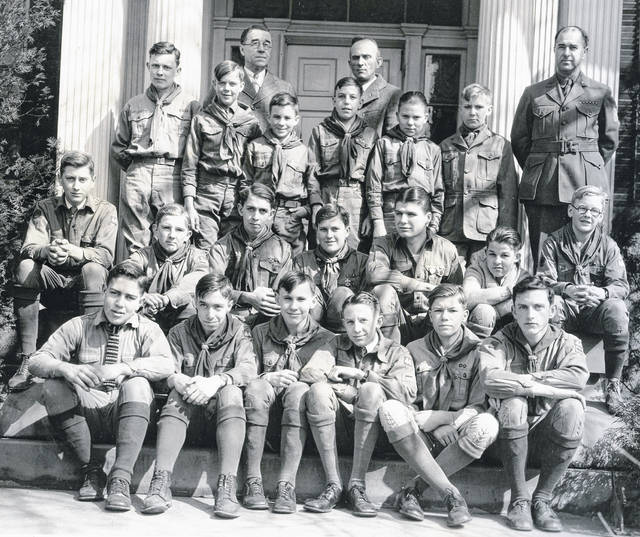 Local Scouts shown are, from left: 1st row, standing — A.W. Bonecutter and R.C.E. Kenzil; second row, standing — Barry Telfair, Arnold Brannon, Robert Reynolds, Arthur Pohlmeyer Jr., Darrell Dome, Glenn Custis, and Scoutmaster J. W. Denver Williams; first row, sitting — Frank Pond Jr., Wendell McCoy, Lewis Hamilton, Richard Nosftger, Edwin Telfair, Edwin Sanders, and Henry West; and, bottom row, William Tomlin, Floyd Wolery, Jess Custis, Donald Ward, Donald McNemar and Norman Bayless. Can you tell us more? Share it at info@wnewsj.com. The photo is courtesy of the Clinton County Historical Society. Like this image? Reproduction copies of this photo are available by calling the History Center. For more info, visit www.clintoncountyhistory.org; follow them on Facebook @ClintonCountyHistory; or call 937-382-4684.