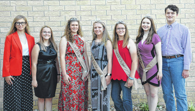 Royalty of the 2020 Clinton County Fair recently gathered for a group photo. The Fair King and Queen will be announced at 5:45 p.m. Sunday. From left are: Queen candidates Annell Prochnow and Lexi McBrayer; Shaleigh Duncan, 2020 Lamb & Fleece Queen; Anastasia Newberry, Poultry Queen; Haley Dean, Beef Queen; Makayla Thomason, Goat Queen; and King candidate Ethan Rinehart. Not pictured are Brooklyn Dobyns, 2020 Horse Queen; and McKinzey Debord, Clinton County Pork Princess.