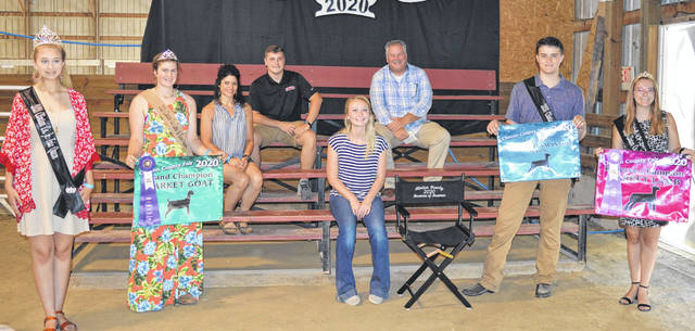 The Reserve Champion Market Lamb exhibited by Madison Gilbert (seated next to the director's chair) of the Wilmington area drew $680. The buyers are American Equipment Service, Arehart-Brown Funeral Services LLC, Autumn Years Nursing Center, Bush Auto Place, Chester Herdsmen 4-H Club, Croghan Trucking / Tom Rayburn Memorial, Culberson Family, Doug Rinehart, Groves Tire & Service, Keri and Alex Hodson, Orchard Veterinary Care LLC, Smith Funeral Homes, Skyline Chili in Wilmington, Brady and Donna Snyder, Murphy Family, Susan Ross, and the Wilmington Elks 797 Lodge & Golf Course.