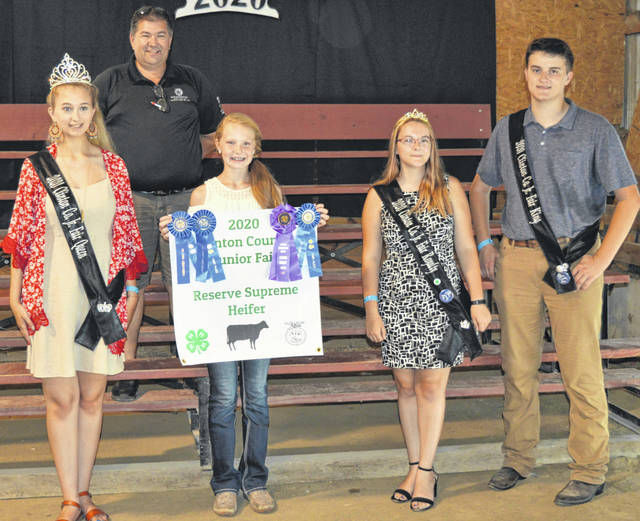 The Reserve Champion Dairy Heifer exhibited by Shelby Leaming of the Jamestown area brought $1,975. The buyers are A All Animal Control Wildlife Removal, American Equipment Service, Coopers Dustbusters, Fox Towing & Truck Service, Foxworthy Enterprises, Groves Tire & Service, Jerry Haag Motors Inc., Richard and Linda King, Sharon Leaming, Mason Family, McDonald & Sons Elevator, Orchard Veterinary Care LLC, Peoples Bank, Prengers Inc., R.D. Holder Oil, Rob's Equipment, Smith Farms Trucking, Tro Go Amish Recipe Pretzels and Doughnuts, Wilmington Auto Center - Chrysler, Dodge, Jeep, KC Farms, and Wilkin Transportation.