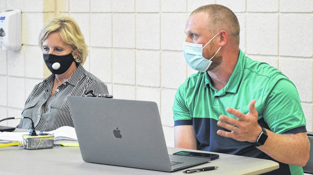 Sabina Elementary School Principal Matthew Willian, right, and East Clinton Director of Curriculum and Instruction Terri Barton were among those at the work session in New Vienna.