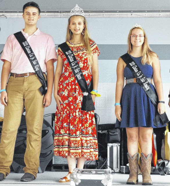 The 2020 Clinton County Junior Fair Queen is Annell Prochnow, center, joined by the 2020 Clinton County Junior Fair King Ethan Rinehart and the 2020 Clinton County Junior Fair Princess Lexi Arehart McBrayer.