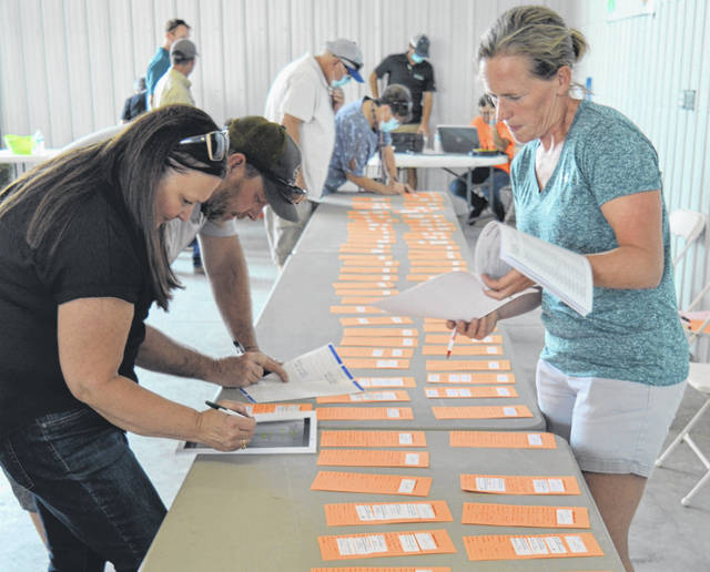 On July 17, a sale room was set up at the Peterson Building for businesses, organizations and individuals who wished to financially support youth exhibitors at the annual Junior Fair Livestock Sales held Saturday, July 18. This year, due to safety precautions, the sales auction was scaled down to a Sale of Champions.