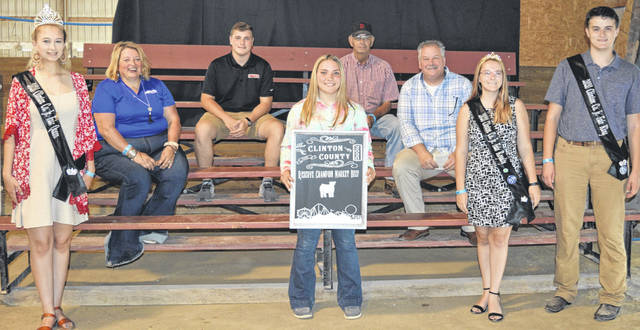 The Reserve Champion Market Beef, weighing 1,276 pounds and exhibited by Elizabeth Schiff of the Jamestown area drew a $2,642 premium at the Sale of Champions. The buyers are ATSG (Air Transport Services Group), Alexander Show Feeds, American Equipment Service, Arehart-Brown Funeral Services LLC, Arolyn Place, Bush Auto Place, Dave Campbell Insurance, Chester Herdsmen 4-H Club, D & E Equipment Co., DeBold Builders, G Bar J Ranch, Groves Tire & Service, Keri and Alex Hodson, Ag-Pro, LT Land Development, Bill Marine Ford, Mason Family, Mason Farms, Mayer Farm Equipment, Mootz Trucking, Peoples Bank, Smith Funeral Homes, Sunrise Cooperative, and Phyllis Cocklin.