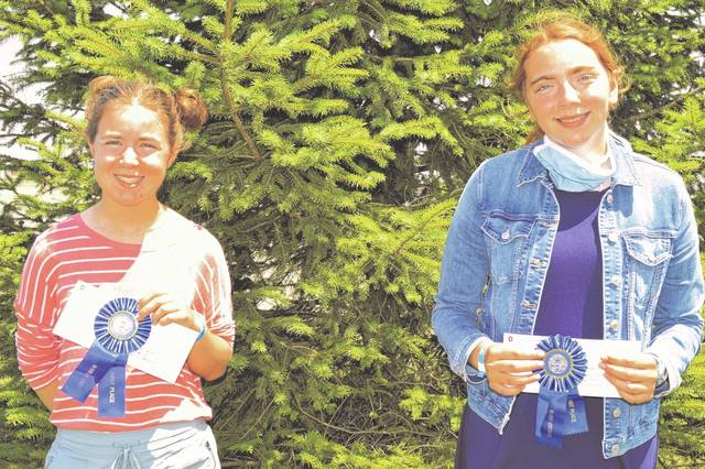 From left are Madison Brausch who earned first place in senior scrapbooking, and Carolyn Koch who earned first in junior scrapbooking at the Clinton County Fair.