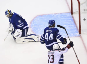 Korpisalo shuts out Maple Leafs 2-0 in first playoff start