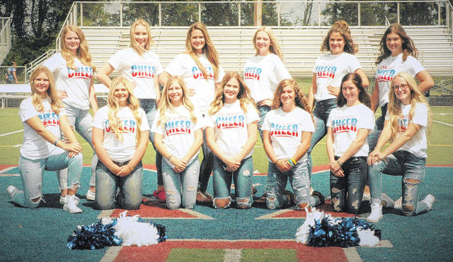The Clinton-Massie varsity football cheerleaders, from left to right, front row, Lissy Muterspaw, Cheyanne Bare, Lauren Baker, Abby Broglin, Carley Lewis, Emily Allgeyer, Alley Brown; back row, Sadie McIntosh, Lilli Sweeney, Leah Burton, Abby Coy, Jenna Norman, Hannah Leforge. Cheer squad member Joel Brothers was not present for the photo.