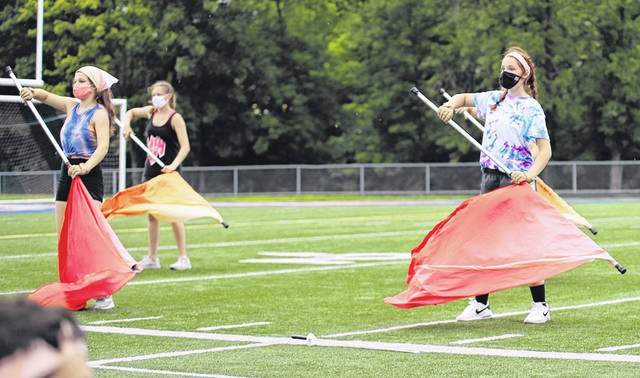 Clinton-Massie color guard learns new routine for fall performances.