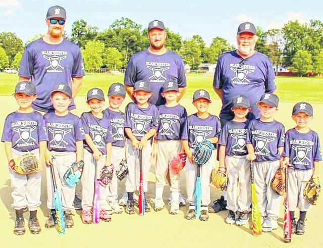Tyler Curry was named the Dave Wallace Coach of the Year for T-ball in the Blanchester Youth Baseball league. Curry, honored for his T-ball knowledge, coached the Avengers team this summer. Members and coaches of the Avengers, in the photo, from left to right, are Ayden Horsfall, Wyatt Watkins, Carissa Lukemire, Gunner Curry, Gunner Rodgers, Jensen Manning, Nakoa Stephens, Bentley Hamm, Xavier Powell, Brody Thompson and coaches Tyler Curry, Nick Rodgers and Conley Wolfe.