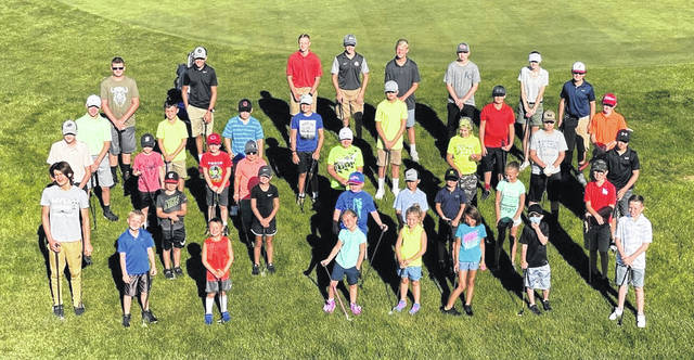 "A total of 38 young golfers, ranging from kindergarten to high school age, participated in the Elks 797 Golf Course junior golf camp last month. ""The kids did an amazing job all week. We really like to focus on the kids having fun and enjoying the game of golf. We focused on fundamentals all three days,"" according to a press release from the camp instructors Andy Copeland and Kerry Steed. There is the hope that the Elks 797 Golf Course would have a middle school and high school league beginning next summer along with more junior fundamental camps throughout the year. In addition the camp, the Elks course is ""continuing to make changes to the driving range. The range fairways are now mowed and a new golf ball dispenser that accepts credit cards has been installed, the press released added. Participants in the camp, in no particular order in the photo, were, Bensen Harpen, Rex Eaglin, Darius Stewart, Audra Day, Logan Flint, Robbi McBrayer, Henry Holbrook, Avery Miller, Carter Kirkendall, Kasen Baker, Hayden Schram, Gabrielle Scherz, Isaiah Rowe, Austin Kmatz, Corrick DeBoard, Eoin Hackmann, Elyon Hackmann, Gretchen Boggs, Grady Boggs, Braydon Black, Baredon Gill, Jaxon Ledford, Kameron Rudduck, Kolton Rudduck, Colton Anderson, Jackson Anderson, Brycen Haley, Charley Worley, Zane Harris, Mitchell Ellis, Devon Snyder, Jayden Snyder, Tomy Worley, Isaiah Teboe and Lucas Teboe."