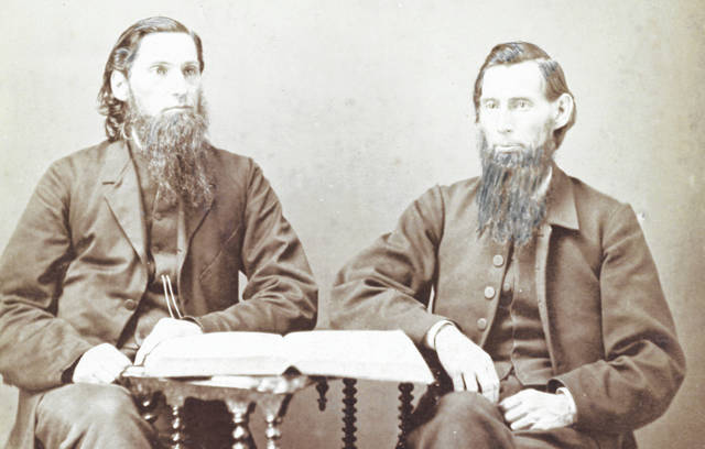 From left, brothers John Henry and Robert Douglas hitched a white horse to a phaeton and traveled the area seeking the support of Quakers for a Friends-affiliated college in Wilmington.